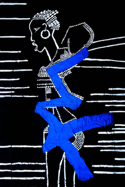 Painting - Dinka In Blue - South Sudan by Gloria Ssali