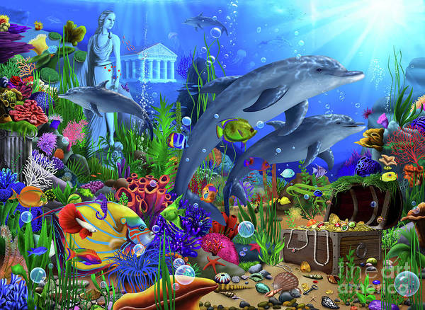 Wall Art - Digital Art - Dolphins Undersea Domain by MGL Meiklejohn Graphics Licensing
