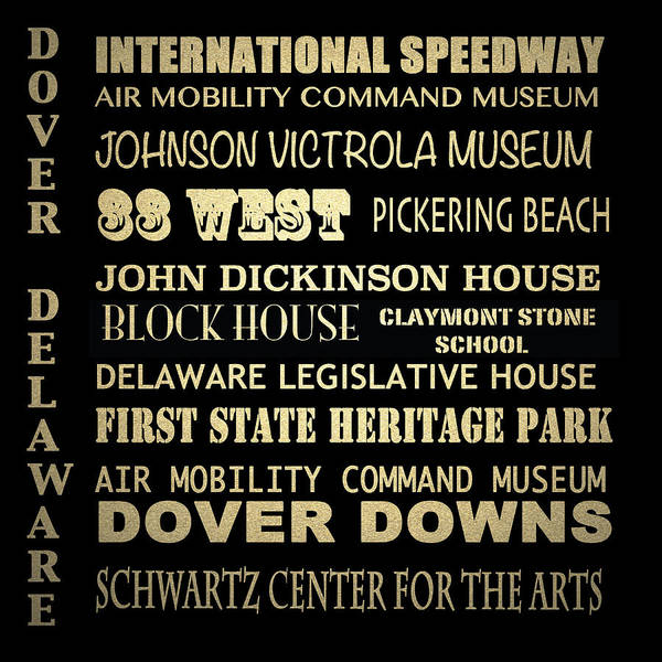 Delaware State Park Wall Art - Digital Art - Dover Famous Landmarks by Patricia Lintner
