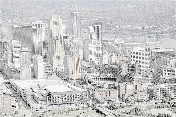 Ohio River Drawing - Downtown Cincinnati by Mountain Dreams