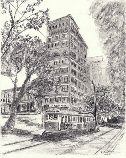 Drawing - Downtown Memphis by Barry Jones