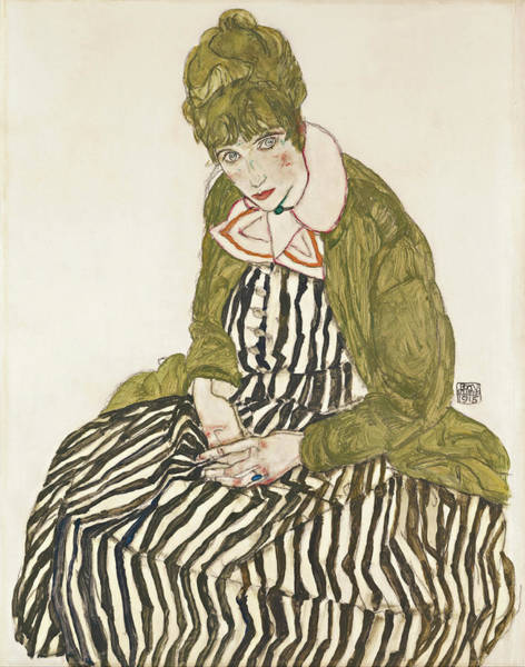 Expressionism Drawing - Edith With Striped Dress, Sitting by Egon Schiele