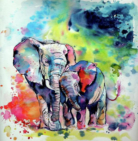 Wall Art - Painting - Elephant With Baby by Kovacs Anna Brigitta