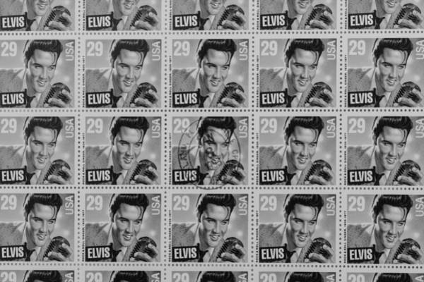 United States Postal Service Photograph - Elvis Commemorative Stamp January 8th 1993 Painted Bw by Rich Franco