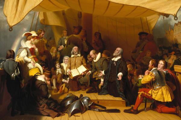 Weir Wall Art - Painting - Embarkation Of The Pilgrims by Robert Walter Weir