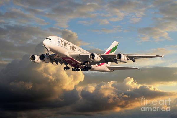 Airbus A380 Wall Art - Digital Art - Emirates Airbus A380 by J Biggadike