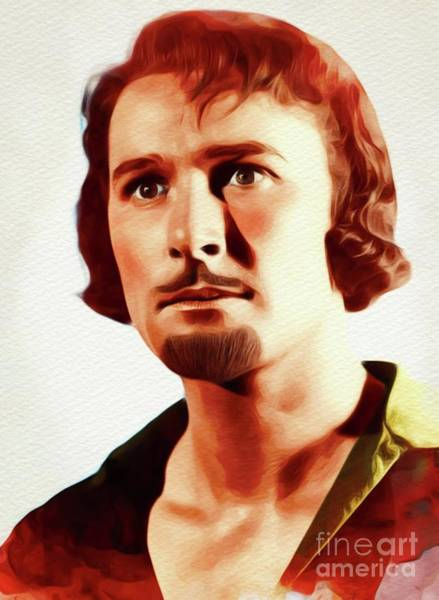 Wall Art - Painting - Errol Flynn, Vintage Movie Star by John Springfield
