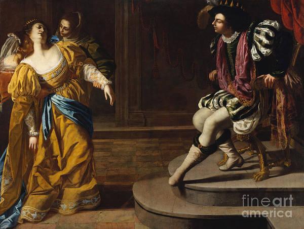 Hebrew Painting - Esther Before Ahasuerus by Artemisia Gentileschi
