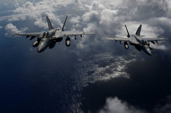 In Service Painting - F A-18e Super Hornets Participate In An Air Power Demonstration by Celestial Images