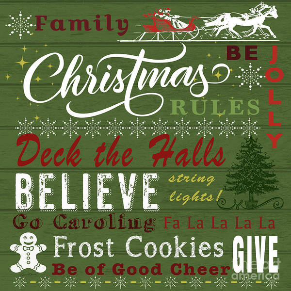 Wall Art - Painting - Family Christmas Rules-c by Jean Plout
