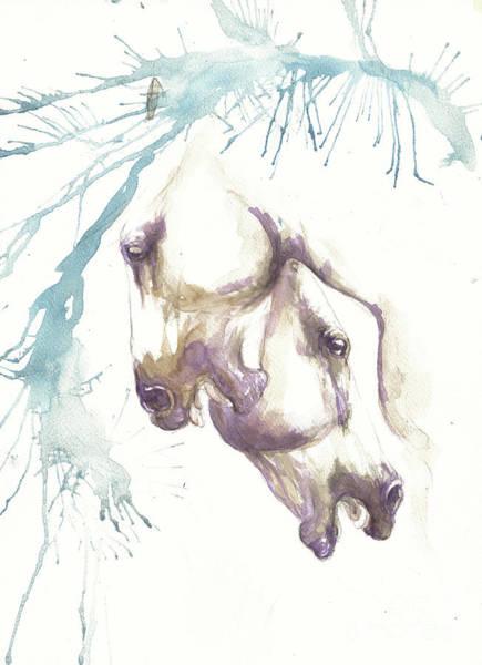 Wall Art - Painting - Fighting Horses by Angel Ciesniarska