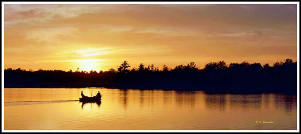 Fishermen On A Lake At Sunset Art Print