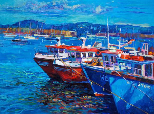 Wall Art - Painting - Fishing Boats  by Boyan Dimitrov