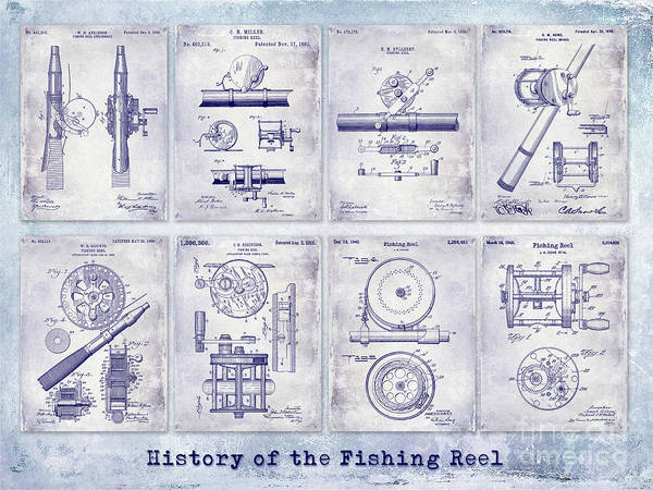 Wall Art - Photograph - Fishing Reel Patent History by Jon Neidert