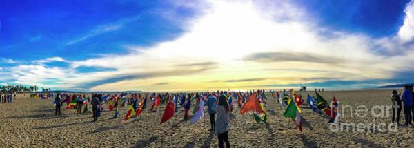 Wall Art - Photograph - Flags At Venice Beach World Peace Drum Circle by Julian Starks