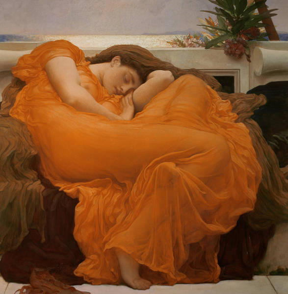 Cushion Wall Art - Painting - Flaming June by Frederic Leighton