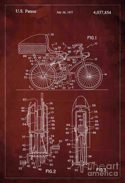 Invention Painting - Flywheel Aided Bicycle Patent From 1977 by Drawspots Illustrations