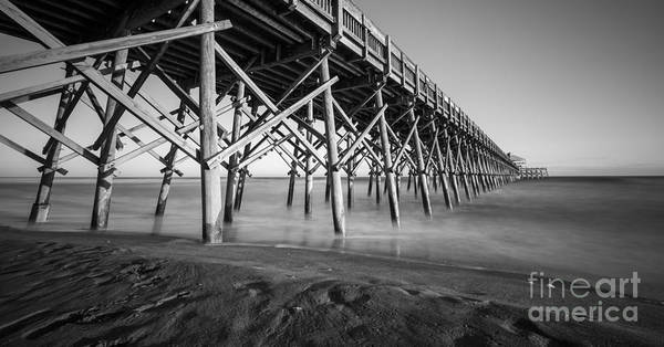 Photograph - Folly Beach Pier Black And White by Dustin K Ryan