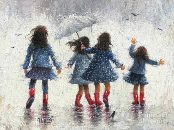 Wall Art - Painting - Four Rain Girls by Vickie Wade