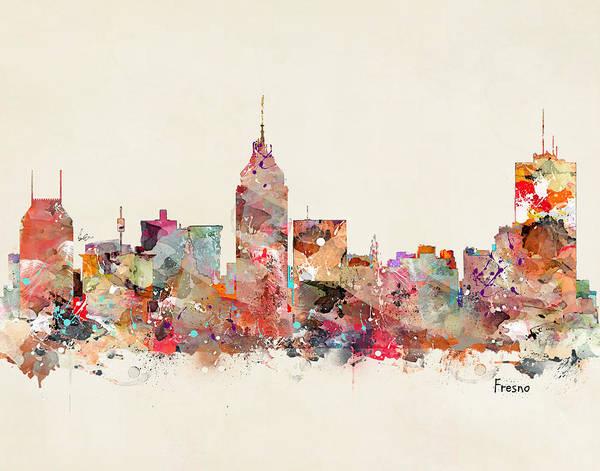 California Digital Art - Fresno California Skyline by Bri Buckley