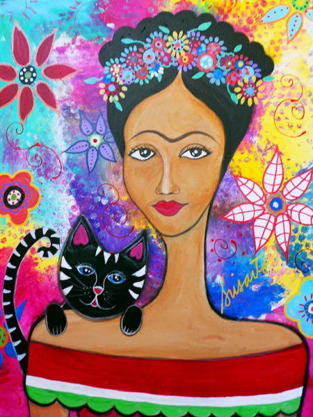 Painting - Frida And Her Cat by Pristine Cartera Turkus