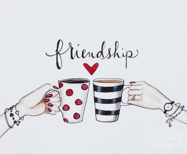 Coffee Painting - Friendship by Elizabeth Robinette Tyndall