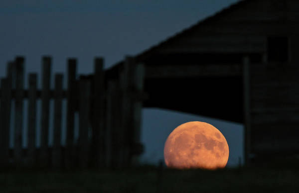 Prairie View Digital Art - Full Moon Seen Through Old Building Window by Mark Duffy