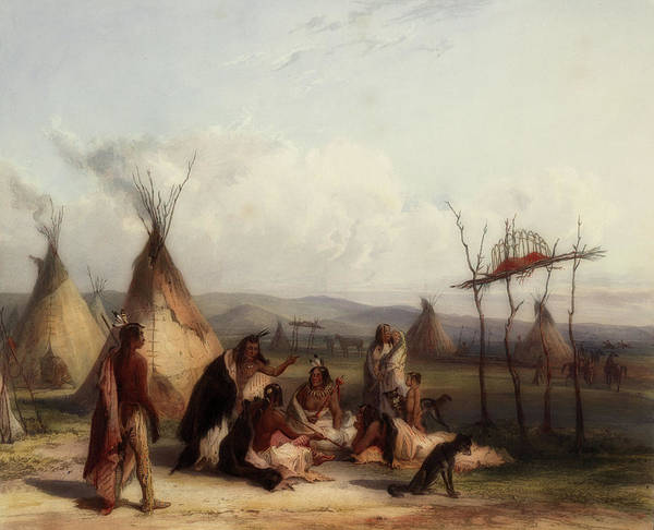 Scaffold Painting - Funeral Scaffold Of A Sioux Chief by Karl Bodmer