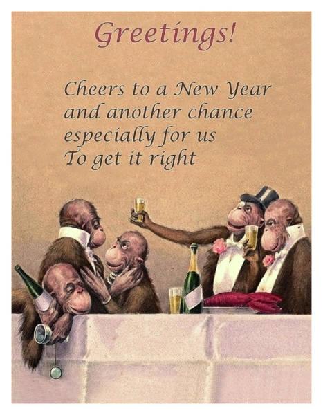 Wall Art - Digital Art - Funny New Year Postcard by Long Shot