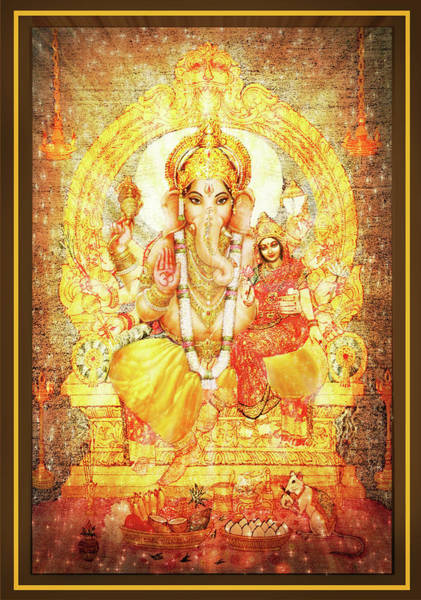 Wall Art - Mixed Media - Ganesha Ganapati - Success by Ananda Vdovic