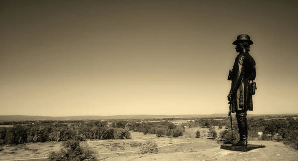 Between The Trees Photograph - General Warren Statue - Gettysburg by L O C