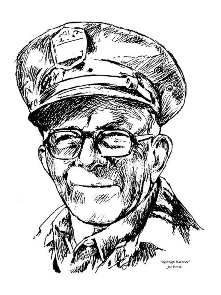 Ink Pen Drawing - George Burns by Greg Joens