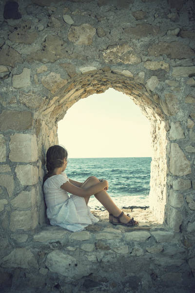 Stone Wall Wall Art - Photograph - Girl At The Sea by Joana Kruse