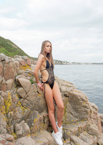 Photograph - Girl In Black Swimsuit by Michael Maximillian Hermansen