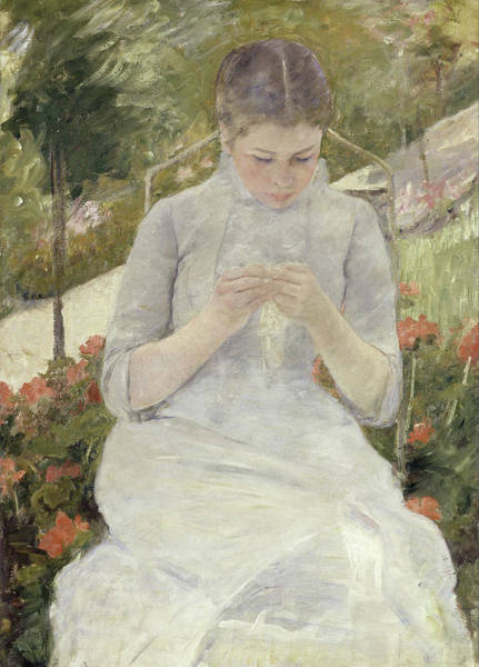 Sewer Painting - Girl In The Garden by Mary Cassatt