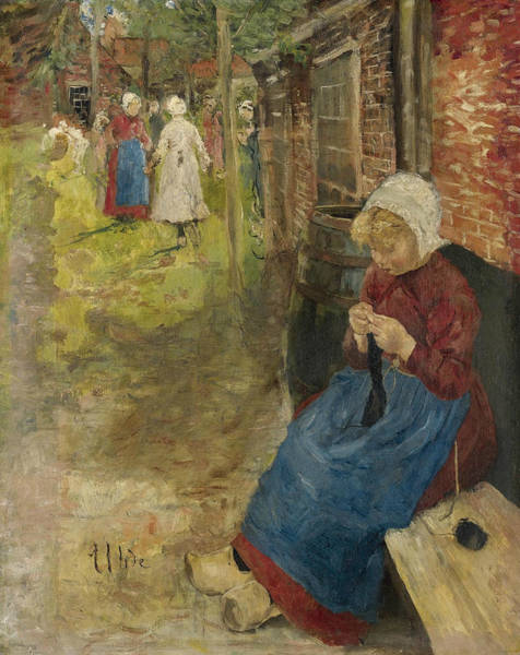 Wall Art - Painting - Girl Knitting by Fritz von Uhde