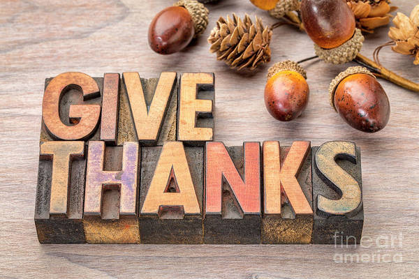 Photograph - give thanks - Thanksgiving concept  by Marek Uliasz
