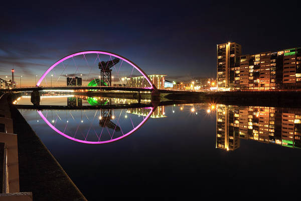 Glasgow Clyde Arc Bridge At Twilight Art Print