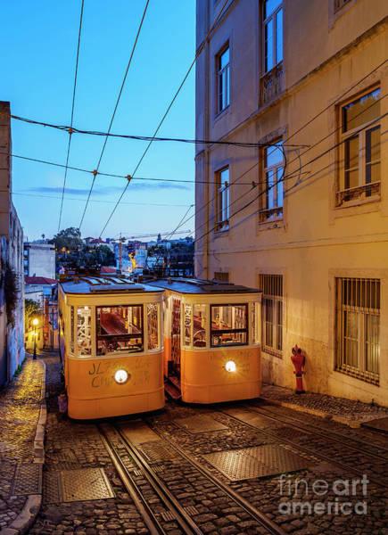 Carris Photograph - Gloria Funicular, Lisbon, Portugal by Karol Kozlowski