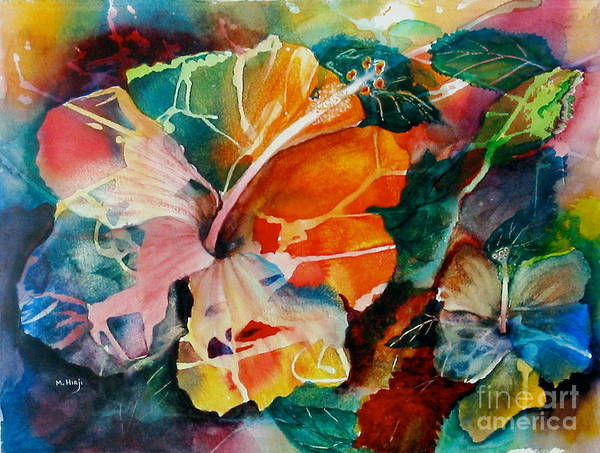 Hibiscus Flower Painting - Glowing by Mohamed Hirji