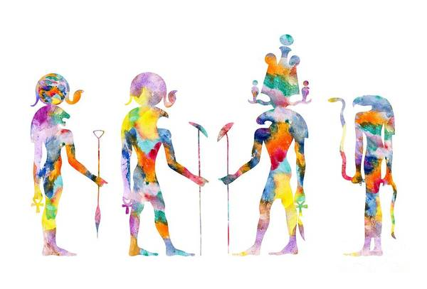 Wall Art - Painting - Gods And Goddess Of Ancient Egypt by Michal Boubin