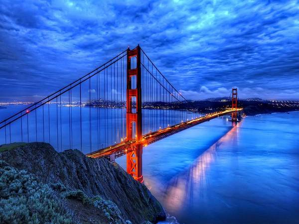 Architecture Digital Art - Golden Gate by Super Lovely