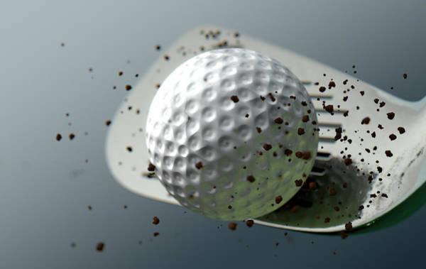 Fragment Digital Art - Golf Club Striking Ball In Slow Motion by Allan Swart