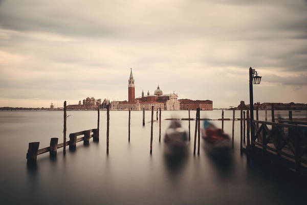 Photograph - Gondola And San Giorgio Maggiore Island  by Songquan Deng