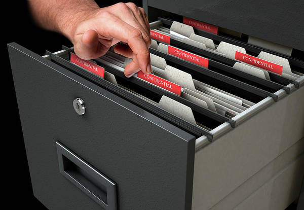 Search Digital Art - Hand Looking Though Filing Cabinet Drawer by Allan Swart
