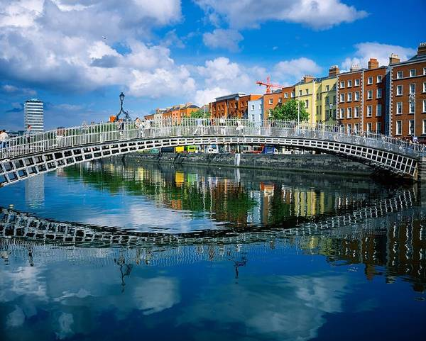 Horizontally Photograph - Hapenny Bridge, River Liffey, Dublin by The Irish Image Collection