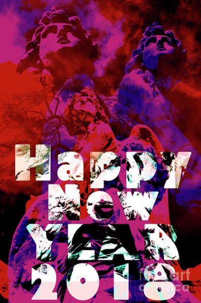 Digital Art - Happy New Year 2018  by Silva Wischeropp