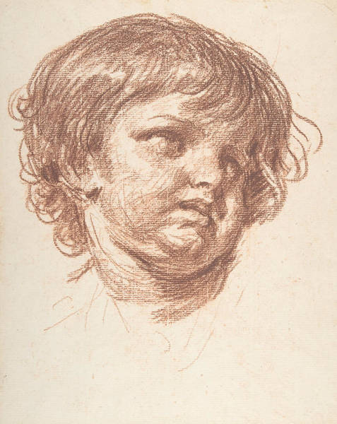 Jeans Drawing - Head Of A Young Boy by Jean-Baptiste Greuze