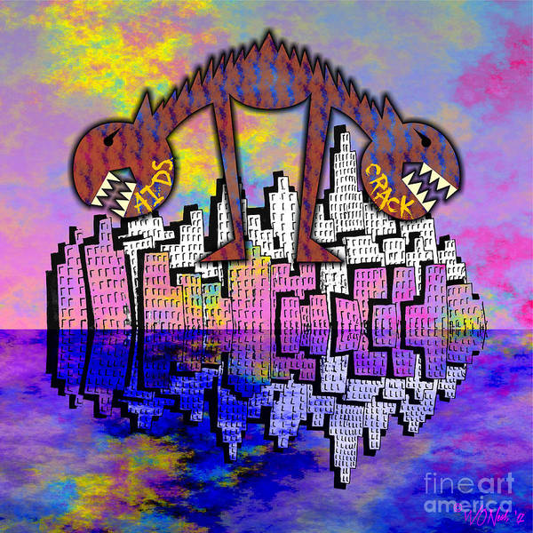 Digital Art - 2 Headed Dog City by Walter Neal