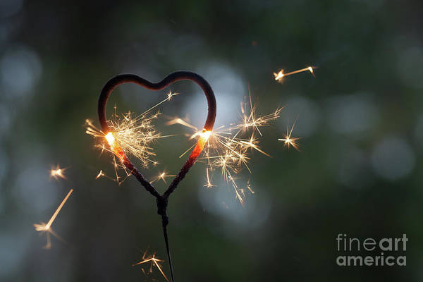 Wall Art - Photograph - Heart Shape Sparkler by Kati Finell